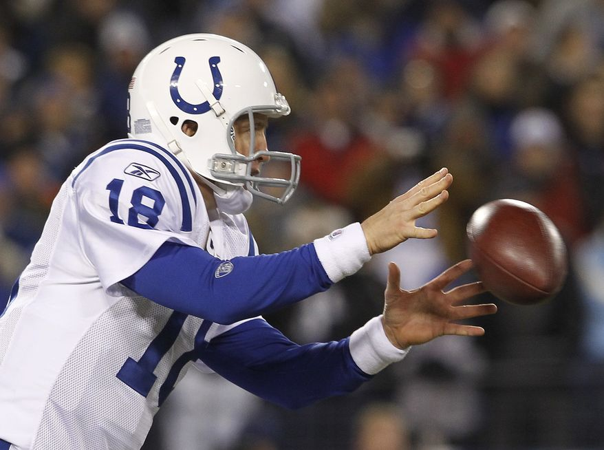 Indianapolis Colts quarterback Peyton Manning takes a snap in the first quarter of an NFL football game against the Tennessee Titans on Thursday, Dec. 9, 2010, in Nashville, Tenn. (AP Photo/Mark Humphrey)