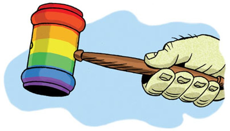 Illustration: Rainbow gavel by Alexander Hunter for The Washington Times