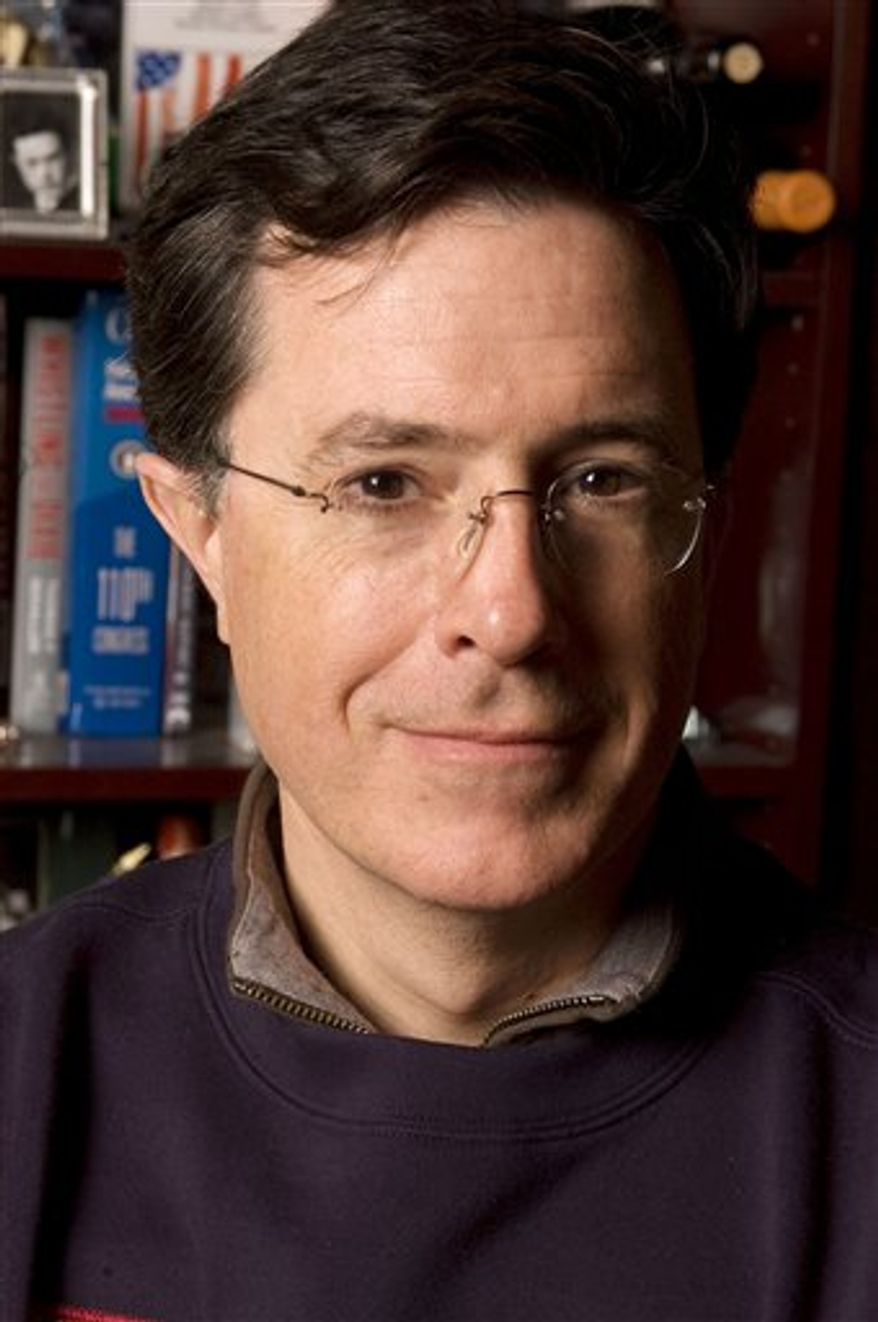 "FILE - In this April 9, 2008 file photo, Stephen Colbert is photographed at his office in New York. With help from three prominent artists, Colbert has retouched a self-portrait to please the discerning art collector eye of Steve Martin. Martin was Colbert's guest Wednesday, Dec. 8, 2010, on ""The Colbert Report,"" where he was promoting his new novel, ""An Object of Beauty."" Colbert presented an old self-portrait and trotted out three unannounced guests to give their appraisal: artists Frank Stella, Shepard Fairey and Andres Serrano. (AP Photo/Jim Cooper, File)"