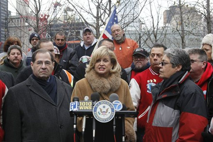 Sen. Charles Schumer, D-N.Y., second from right, gestures during a news conference on Capitol Hill in Washington, Thursday, Dec. 9, 2010, after the Senate voted down a bill to aid people who got sick after exposure to dust from the World Trade Center's collapse in the Sept. 11 attack. From left are, Sen. Christopher Coons, D-Del., Sen. Robert Menendez, D-N.J., Sen. Frank Lautenberg, D-N.J., Schumer. and Sen. Kirsten Gillibrand,  D-N.Y. (AP Photo/Harry Hamburg)