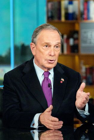 """""""I'm not going to run for president. I've got a great job,"""" said New York Mayor Michael R. Bloomberg on Sunday. (Associated Press)"""