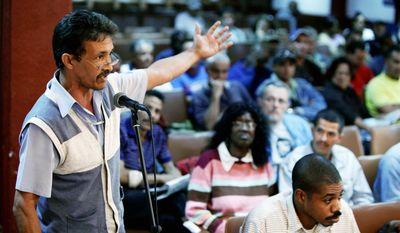 Arturo Martinez speaks at a meeting with labor union and Communist Party leaders on Cuba's economic problems at the steel mill Antillana de Acero in Havana. Major free-market reforms are in the works on the island nation. (Associated Press)