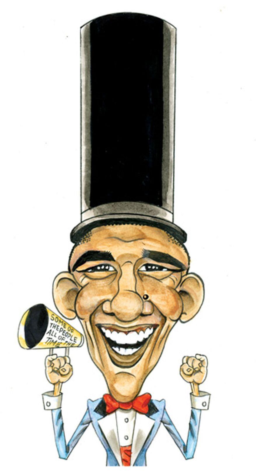 Illustration: Obamaham Lincoln by Alexander Hunter for The Washington Times