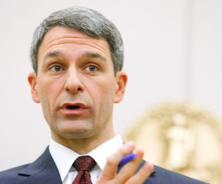 "HIS POINT: Virginia Attorney General Kenneth T. Cuccinelli II says the Obamacare case isn't about health insurance, ""it's about liberty."" (Associated Press)"