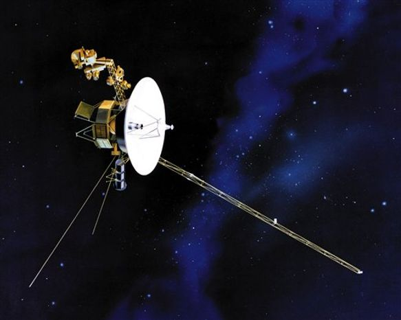 FILE - This undated file artist's rendering shows one of NASA's twin Voyager spacecraft. NASA says the long-running Voyager 1 spacecraft hurtling toward the edge of the solar system has reached another milestone. Since 2004, the unmanned probe has been exploring a region of space where the solar wind slows abruptly and crashes into the thin gas between stars. NASA said Monday that recent readings show the solar wind has slowed to zero, meaning the spacecraft is getting ever closer to the solar system's edge. (AP Photo/NASA, File)