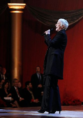 Annie Lennox performs Dec. 12 during the Annual Christmas in Washington presentation at the National Building Museum in Washington. (Associated Press)