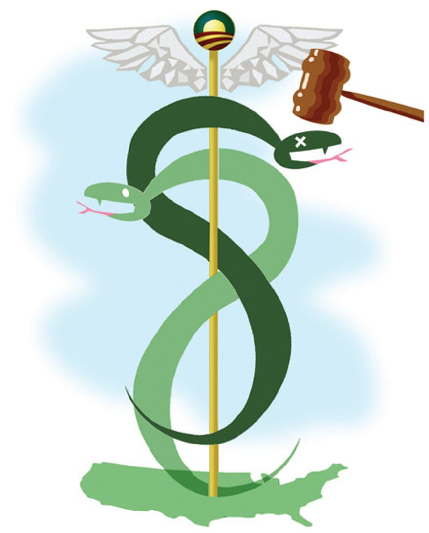 Illustration: Obamacare by Alexander Hunter for The Washington Times