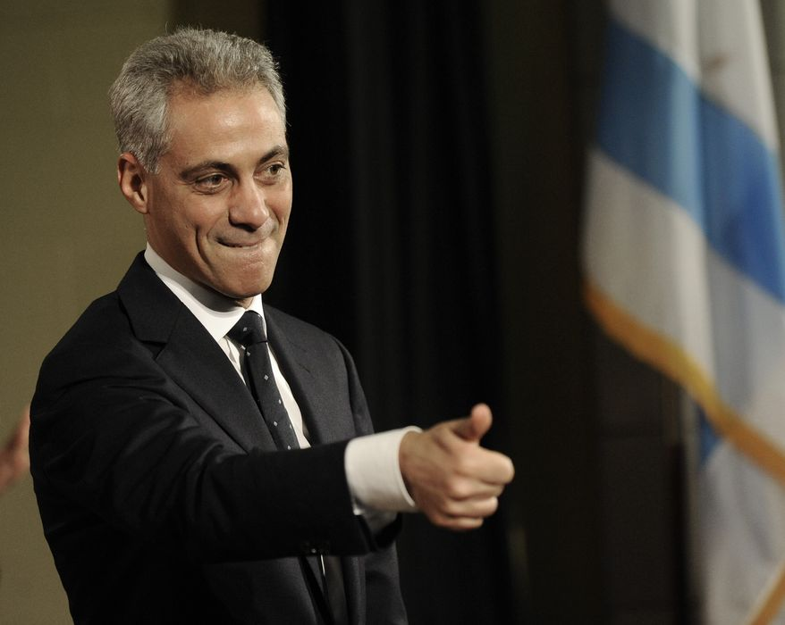 ** FILE ** Rahm Emanuel, a former congressman and White House chief of staff, announces his candidacy for mayor of Chicago on Nov. 13, 2010, in the Windy City. (AP Photo/Paul Beaty, File)