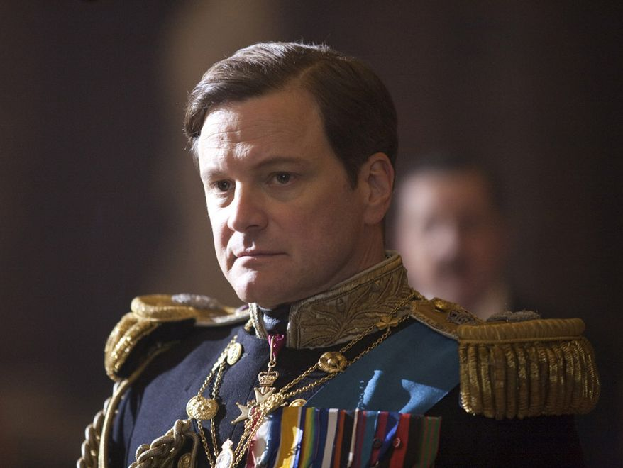 """British actor Colin Firth portrays King George VI in """"The King's Speech,"""" which was nominated for a Golden Globe award for best picture on Tuesday, Dec. 14, 2010. Mr. Firth also received a nomination for best dramatic actor. (AP Photo/The Weinstein Company, Laurie Sparham)"""