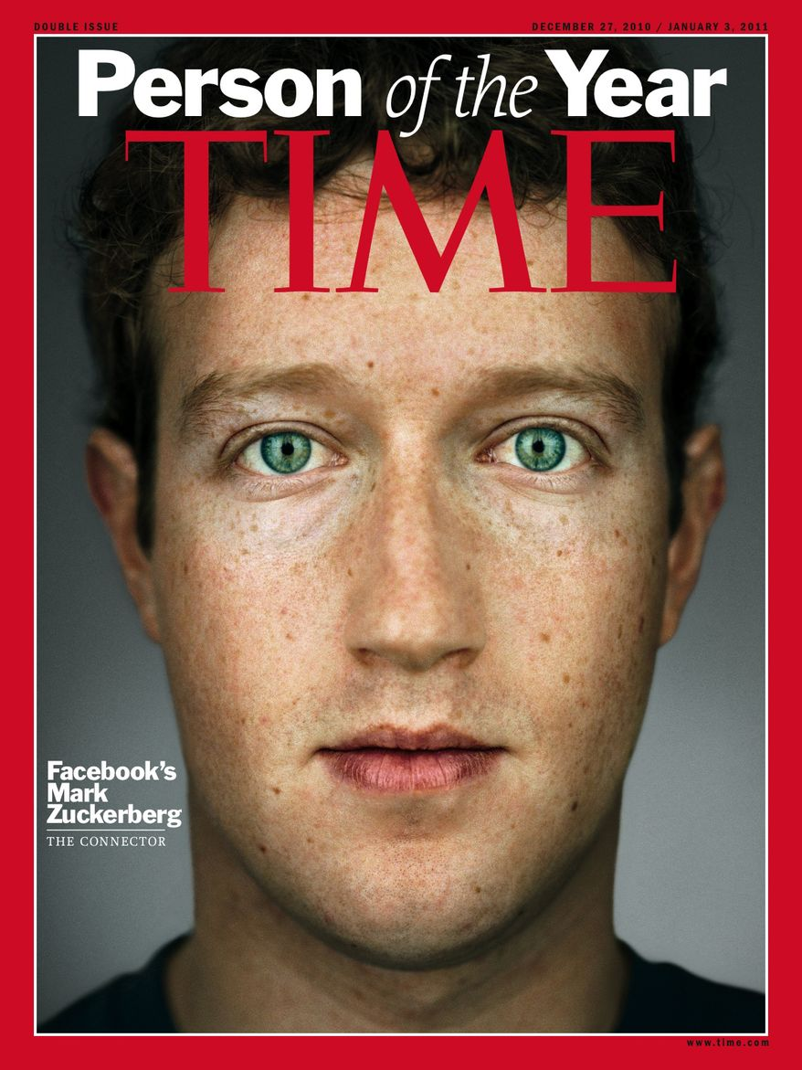 "Time Magazine named Facebook founder and CEO Mark Zuckerberg its 2010 ""Person of the Year"" on Wednesday, Dec. 15, 2010. (AP Photo/Time Magazine)"