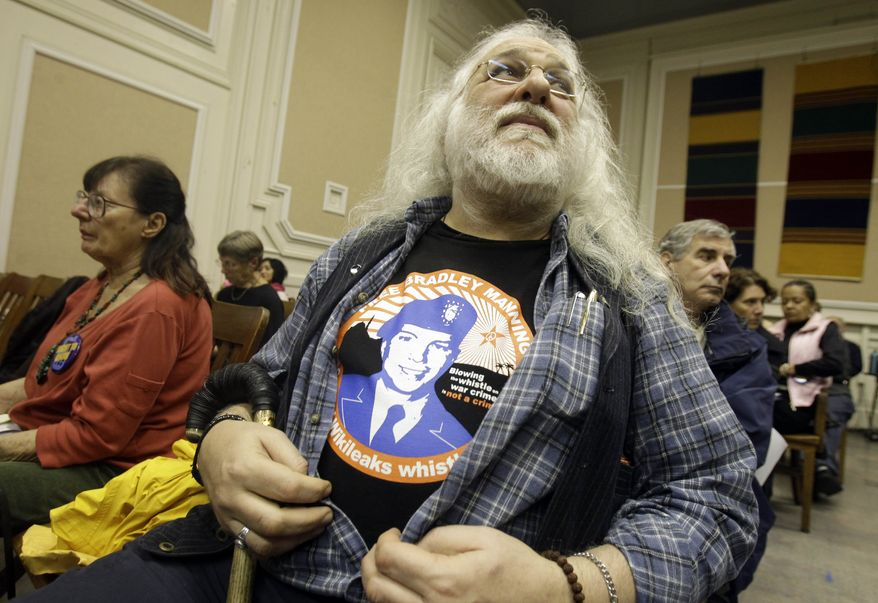 Bob Meola wears a T-shirt with an image of Pfc. Bradley Manning during a city council meeting in Berkeley, Calif., Tuesday, Dec. 14, 2010. The council has delayed consideration of a resolution bestowing hero status on Pfc. Manning, the soldier at the center of the Wikileaks fury. (AP Photo)
