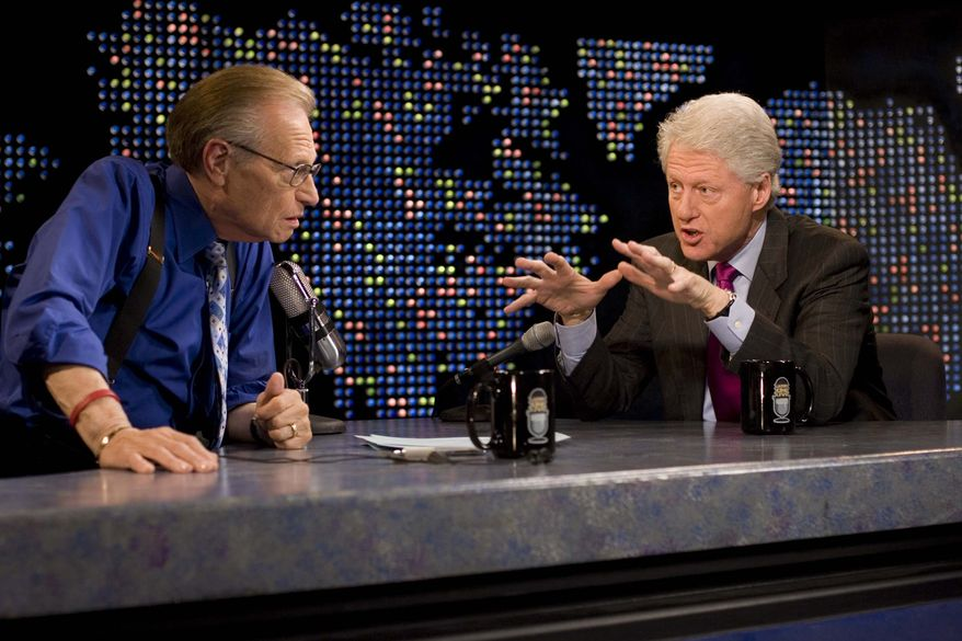 """Larry King interviews former President Bill Clinton, right, on CNN's """"Larry King Live,"""" in New York on April 19, 2007. After 25 years, Mr. King will hang up his suspenders with his last broadcast on Thursday, Dec. 16, 2010. (AP Photo/CNN, Jake A.Herrle)"""