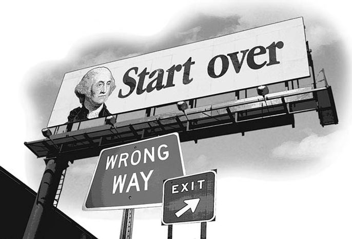 Illustration: Start over by Greg Groesch for The Washington Times