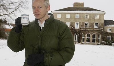 WikiLeaks founder Julian Assange poses for photographers at the home of Frontline Club founding member Vaughan Smith, at Bungay, England, Friday, Dec. 17, 2010. (AP Photo/Kirsty Wigglesworth)