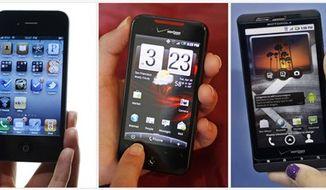 In this combo made from file photos, from left, the iPhone 4, the HTD Droid Incredible, and the Motorola Droid X are shown. (AP Photos/File)