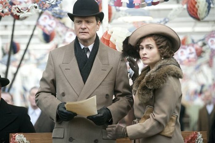 """In this film publicity image released by The Weinstein Company, Colin Firth portrays King George VI, left, and Helena Bonham Carter portrays the Queen Mother in a scene from, """"The King's Speech."""" British filmmakers must now meet new targets for ethnic minority, gay and female characters on and off screen if they wish to continue receiving funding from the British Film Institute, which backed """"The King's Speech"""" in 2010. (AP Photo/The Weinstein Company, Laurie Sparham)"""