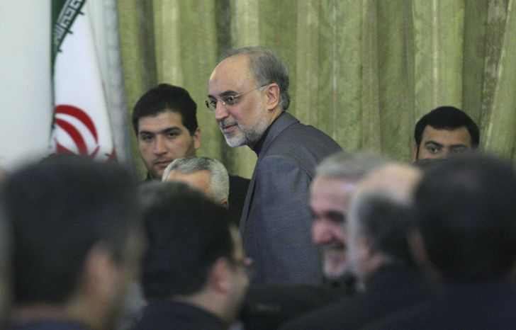 Ali Akbar Salehi, head of the Atomic Energy Organization of Iran, who has been appointed by the Iranian President as interim Foreign Minister, leaves a Foreign Ministry function, Saturday, Dec. 18, 2010. (AP Photo)