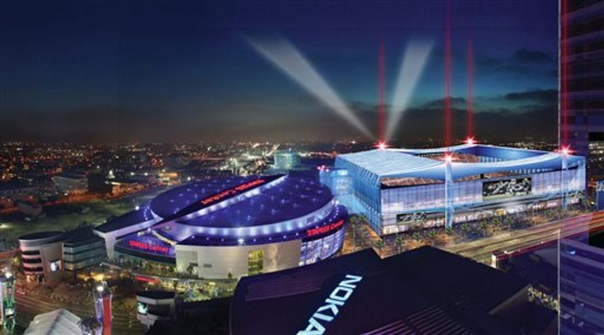 This image provided by AEG Digital Group shows an artist's rendering of a proposed football stadium, to be called the LA Live Event Center in downtown Los Angeles. AEG and ICON Venue Group, the developers who want to build an NFL stadium near downtown Los Angeles' convention center unveiled this rendering of the sports and convention complex and discussed an early cost analysis Wednesday Dec. 15, 2010. (AP Photo/AEG Digital Group)