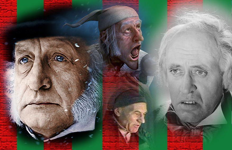 George C. Scott, Jim Carrey, Patrick Stewart and Alastair Sim as Ebenezer Scrooge.
