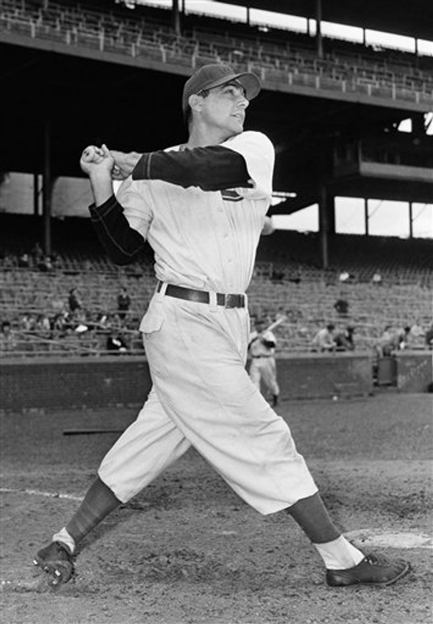 FILE - In this July 6, 1942, file photo, Chicago Cubs' Phil Cavarretta poses for a photo, location not known. Cavarretta, the 1945 National League MVP who led the Cubs to their last World Series appearance, died Friday, Dec. 17, 2010. Cavarretta, 94,  died in Lilburn, Ga., of complications from a stroke, according to his grandson, Jeffrey Brown, of Lubbock, Texas. (AP Photo/ File)