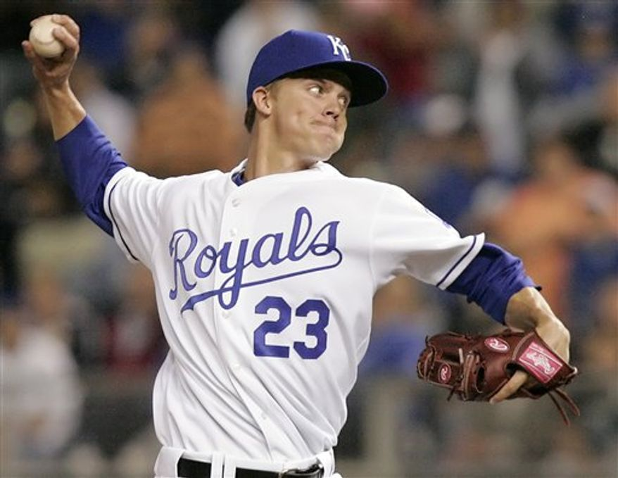FILE-This is a 2007 file photo of Zack Greinke of the Kansas City Royals. Greinke was traded to the Milwaukee Brewers Sunday Dec. 19, 2010. The Royals will receive Odorizzi, shortstop Alcides Escobar, outfielder Lorenzo Cain and another player from the Brewers. Cain's agent, Joshua Kusnick, confirmed on his Twitter account that his client is going to Kansas City and indicated that another client, minor league pitcher Jeremy Jeffress, could become the additional player. The Brewers also are expected to get shortstop Yuniesky Betancourt from the Royals. (AP Photo/Orlin Wagner,File)