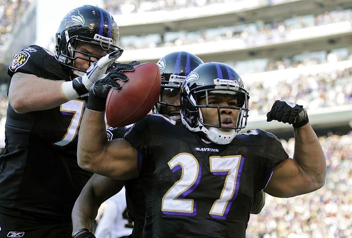 Baltimore Ravens running back Ray Rice (27) celebrates his touchdown-run during the first half of an NFL football game against the New Orleans Saints in Baltimore, Sunday, Dec. 19, 2010. (AP Photo/Nick Wass)