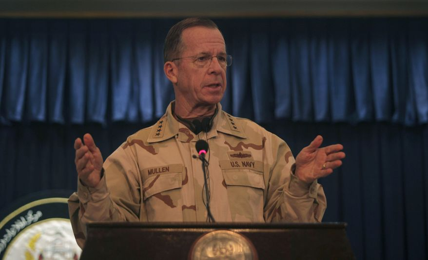 Adm. Mike Mullen of the U.S., chairman of the Joint Chiefs of Staff, during a press conference with U.S. ambassador to Afghanistan, Karl Eikenberry, not in photo, in Kabul, Afghanistan, Friday, Dec. 17, 2010. (AP Photo/Altaf Qadri)