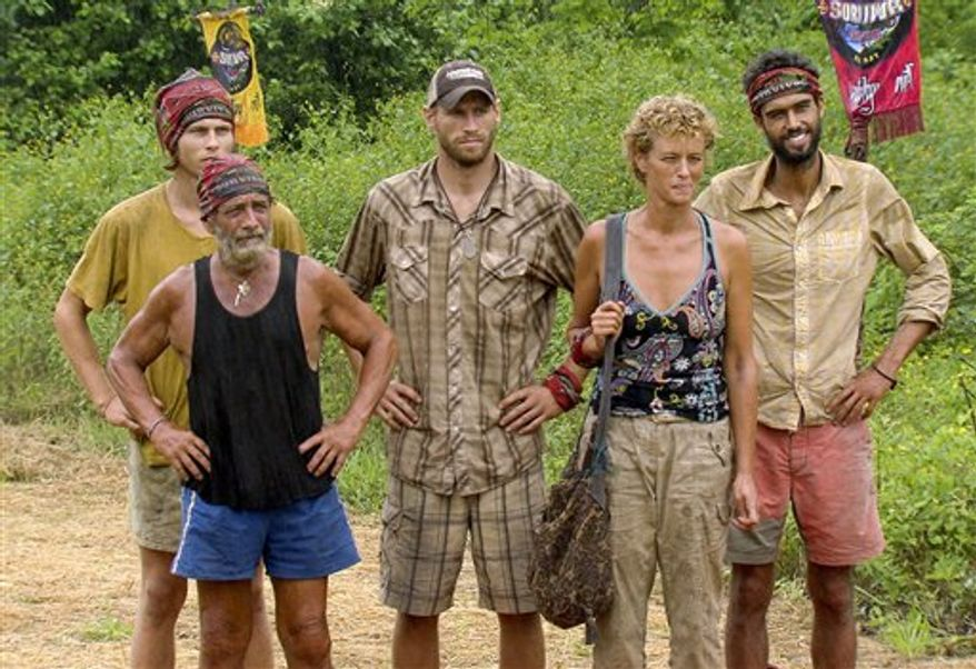 """In this publicity image made from video released by CBS, from left, Dan Lembo, Judson """"Jud"""" Birza, Chase Rice, Holly Hoffman, and  Matthew """"Sash"""" Lenahan are shown during the season Finale episode of """"Survivor: Nicaragua,"""" airing Sunday, Dec. 19, 2010 at 8:00 p.m. EST on CBS. (AP Photo/CBS)"""