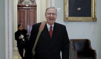 Senate Minority Leader Sen. Mitch McConnell, Kentucky Republican, walks near the Senate floor during an unusual Sunday session on Capitol Hill in Washington Sunday, Dec. 19, 2010. Mr. McConnell said he would oppose a nuclear arms treaty with Russia, damaging prospects for President Obama's foreign policy priority in the final days of the post-election Congress. (AP Photo/Alex Brandon)