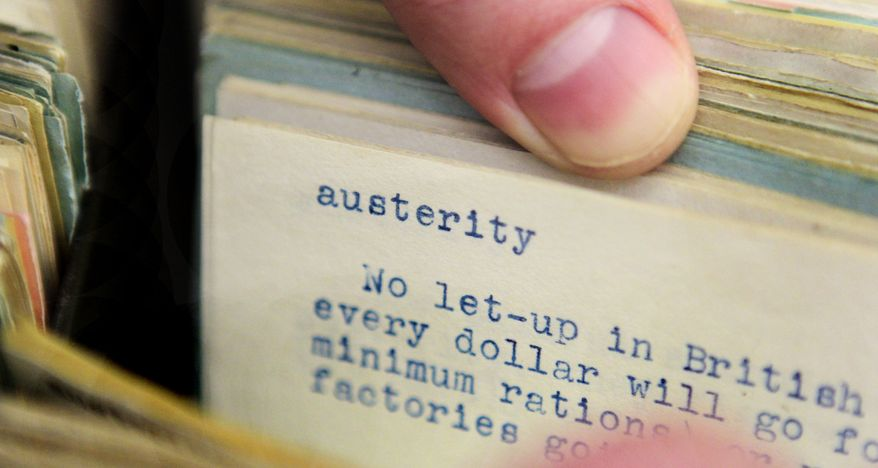 "In this Tuesday, Dec. 14, 2010, photo, the word ""austerity"" is shown on an index card file at dictionary publisher Merriam-Webster Inc. in Springfield, Mass. Merriam-Webster has chosen ""austerity"" as its 2010 Word of the Year. (AP Photo/Charles Krupa)"