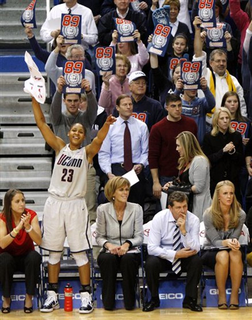 Connecticut forward Maya Moore (23) reacts with teammate Tiffany Hayes (3) in the first half of a college basketball game against Florida State in Hartford, Conn., Tuesday, Dec. 21, 2010. Heading into the game, Connecticut needed one win to set the NCAA record for consecutive wins by a basketball team. (AP Photo/Jessica Hill)