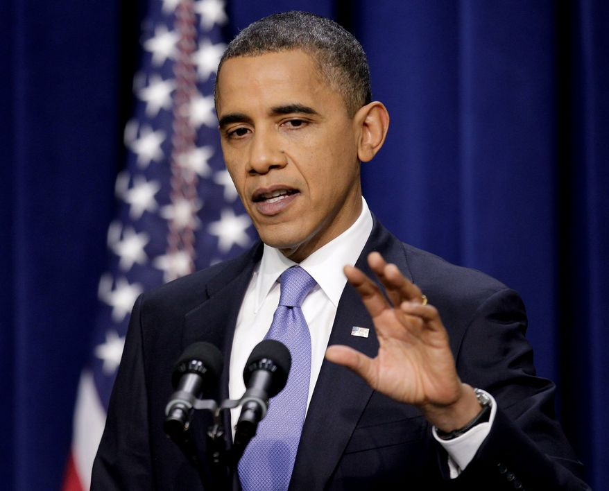 """ASSOCIATED PRESS 'GRIDLOCK' BUSTER: President Obama discusses the Dream Act at the Eisenhower Executive Office Building on Wednesday. """"This has been a season of progress for the American people,"""" Mr. Obama said."""