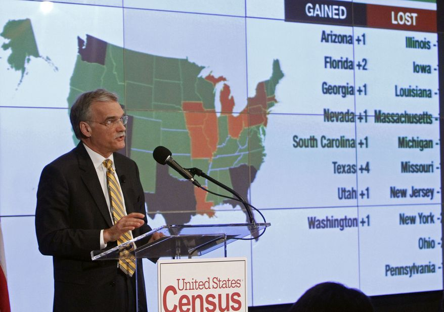 ** FILE ** Census Bureau Director Robert Groves announces results of the 2010 U.S. Census at the National Press Club on Tuesday, Dec. 21, 2010, in Washington. (AP Photo/Jacquelyn Martin)