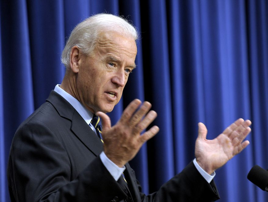** FILE ** In this Nov. 19, 2010, file photo, Vice President Joe Biden gestures while speaking at the South Court Auditorium at the White House in Washington. Biden said on Friday, Dec. 24, 2010, that the country is evolving on the issue of gay marriage and he thinks it's inevitable there will be national consensus. (AP Photo/Susan Walsh, File)