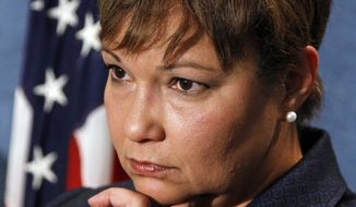 ** FILE ** In this Oct. 21, 2010, file photo, Environmental Protection Agency (EPA) Administrator Lisa Jackson, listens during a news conference at the National Press Club in Washington. (AP Photo/Alex Brandon, File)