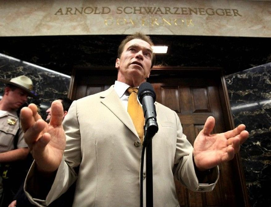 """Gov. Arnold Schwarzenegger said he wanted to """"end the crazy deficit spending,"""" but the deficit is as high as ever and has plagued Mr. Schwarzenegger. (Associated Press)"""