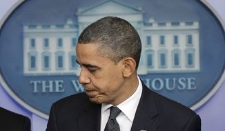 President Barack Obama walks away from the podium in the Brady Press Briefing room in the White House in Washington, Thursday, Dec. 16, 2010. (AP Photo/Pablo Martinez Monsivais)