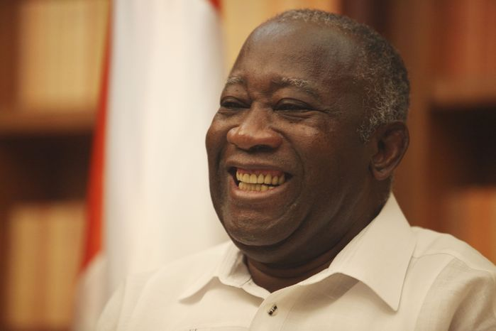 Ivory Coast President Laurent Gbagbo smiles during an exclusive interview at his residence in Abidjan, Ivory Coast, on Sunday, Dec. 26, 2010. (AP Photo/Sunday Alamba)