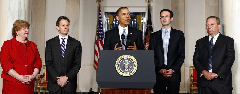 **FILE** In this photo from Feb. 1, President Obama makes a statement in the Grand Foyer of the White House. From left: Council of Economic Council Chair Christina Romer; Treasury Secretary Timothy Geithner; the president; Budget Director Peter Orszag and chief economic adviser Lawrence Summers. (Associated Press)