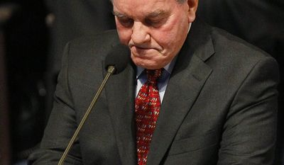 An emotional Chicago Mayor Richard Daley talks about firefighter Corey Ankum during Dec. 30 funeral services in Chicago. Ankum, the wife of Daley's longtime assistant Demeka Ankum, was one of two firefighters killed last week when a roof collapsed after a fire. (Associated Press)