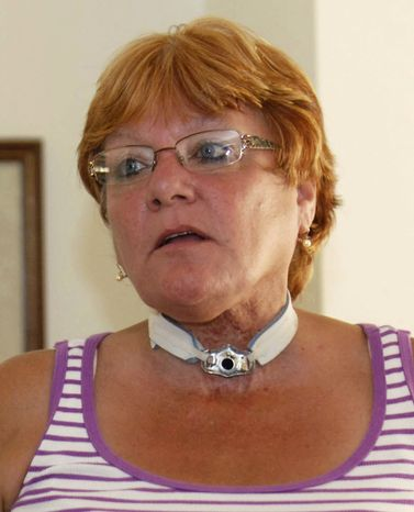 Barbara Izzarelli, a Connecticut smoker who developed larynx cancer and won $8 million against a tobacco company last May in the first such jury award in New England, has been awarded another $4 million in punitive damages. (AP Photo/Norwich Bulletin, John Shishmanian, File)