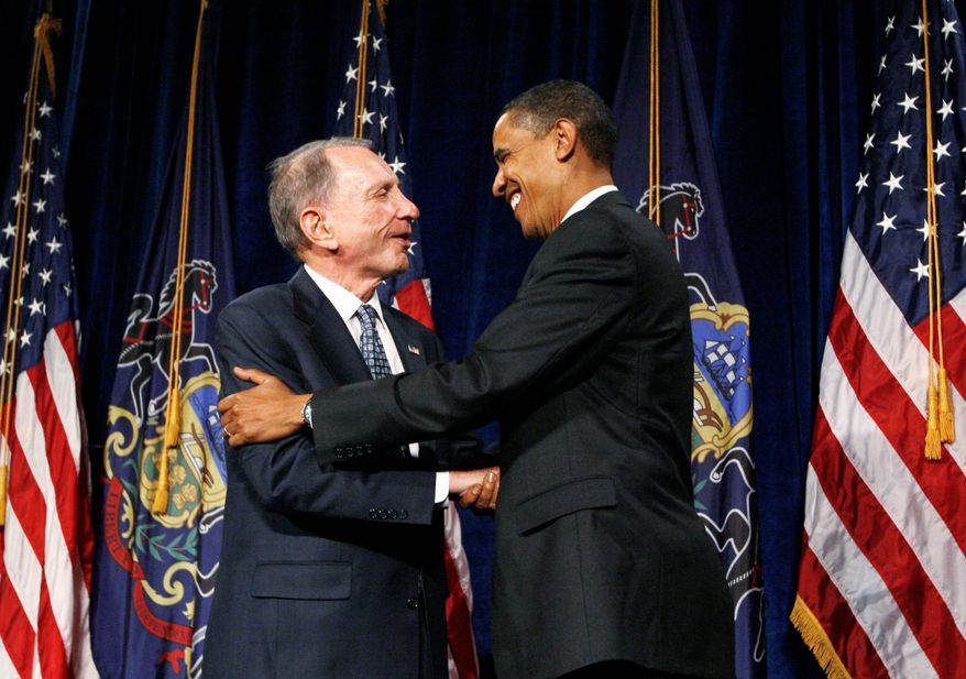 President Obama got an assist from then-Republican Sen. Arlen Specter of Pennsylvania in Febraury 2009 when he provided a key vote for the economic stimulus package. As Mr. Specter leaves the Senate after 30 years, he says he wouldn't change a thing about his political path, which included switching political parties. (Associated Press)