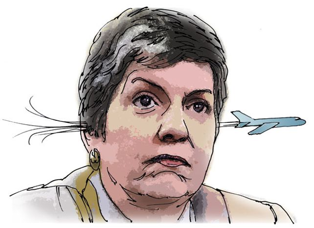 Illustration: Napolitano's TSA by Greg Groesch for The Washington Times