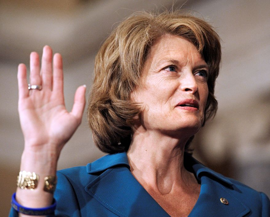 Sen. Lisa Murkowski, Alaska Republican, is likely to vote on issues keeping in mind constituency priorities more than party ones. (Associated Press)