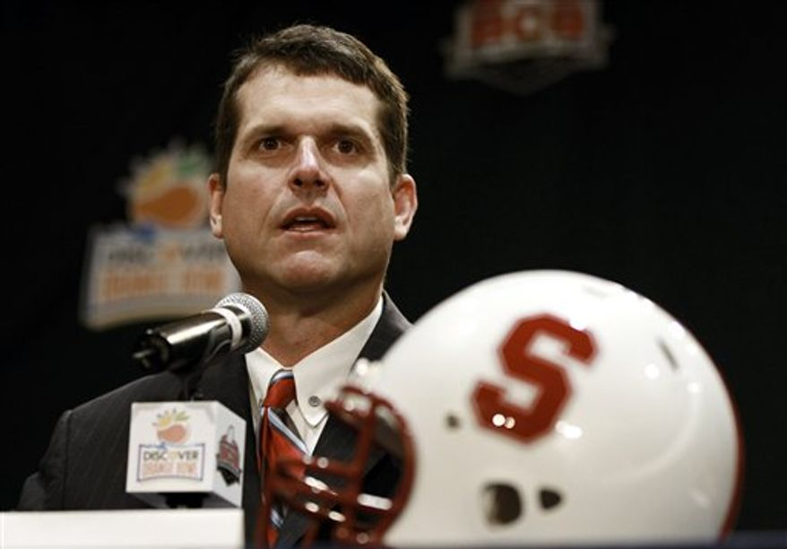 Stanford football head coach Jim Harbaugh answers questions during a coach's new conference in Ft. Lauderdale, Fla., Sunday, Jan. 2, 2011.  Stanford plays Virginia Tech in the Orange Bowl NCAA college football game on Jan. 3, 2010.  (AP Photo/Hans Deryk)