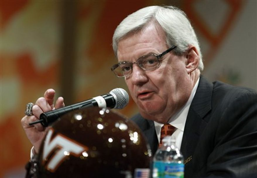 ** FILE ** Virginia Tech head coach Frank Beamer speaks during a news conference. (AP Photo/Hans Deryk)