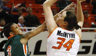 Oklahoma State center Vicky McIntyre, right, shoots over Texas Pan-American guard Ce'Monay Newell in the second half of an NCAA college basketball game in Stillwater, Okla., Sunday, Jan. 2, 2011. McIntyre had 14 points as Oklahoma State won 94-40. (AP Photo/Sue Ogrocki)