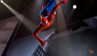 "In this theater publicity image released by The O and M Co., Christopher Tierney portrays Spider-Man in a scene from the musical ""Spider-Man: Turn Off the Dark,"" in New York. (AP Photo/The O and M Co., Jacob Cohl) NO SALES"