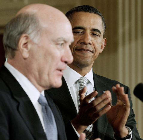 President Obama applauds as William Daley, a former commerce secretary and his new White House chief of staff, delivers a statement in the East Room of the White House on Thursday. (Associated Press)