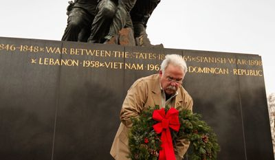 "James Donovan, founder and executive director of the Marine Corps War Memorial Foundation, places a wreath at the memorial during the Christmas wreath-laying ceremony on Dec. 13. ""As far as updates, we haven't kept pace with the times and its needs,"" said Mr. Donovan, a former Marine corporal who served at the monument's Silent Drill Platoon from 1964 to 1968. (Sgt. Jimmy D. Shea/USMC)"